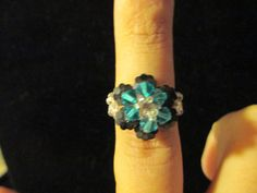 Swarovski Crystal Ring  turquoise over opaque black size by jsdd, $10.00