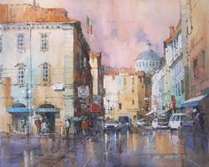 "Ian Ramsay Watercolors Parma, Italy 8"" x 10"" watercolor SOLD"