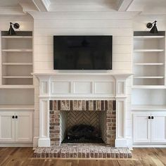 9 Easy And Cheap Ideas: Marble Fireplace Summary fireplace makeover grey.Farmhouse Fireplace Bath fireplace makeover with tv.Fireplace Makeover With Tv. Fireplace Built Ins, Farmhouse Fireplace, Home Fireplace, Living Room With Fireplace, Fireplace Surrounds, Fireplace Design, Home Living Room, Fireplace Ideas, Living Spaces