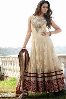 Z Fashion Trend: OFF WHITE AND MAROON SLEEVELESS ANARKALI