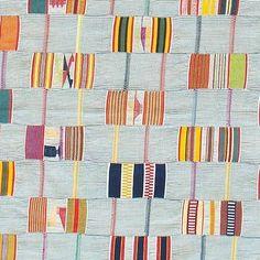 Detail of rare antique white and blue check ground Ewe kente men's cloth, Volta…