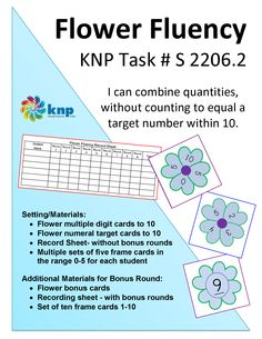 """Flower Fluency"" -I can combine quantities, without counting to equal a target number within 10. Supports learning Common Core Standards: 0-K.OA.2 & 0-K.OA.3 [KNP Task # S 2206.2]"