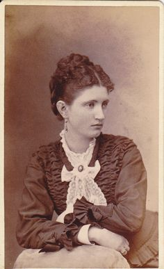 Victorian lady with beautiful ruffled jacket and lace jabot. #portrait #1800s #women