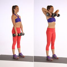 While doing the Upright Row move, slowly lower the dumbbells to the starting position and back up – 10 times.