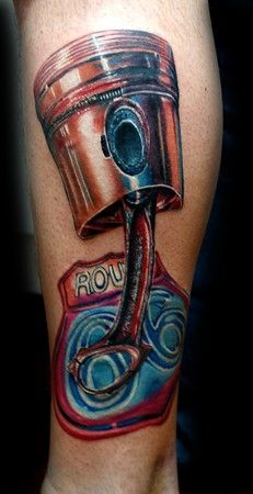 Tattoos - Cecil Porter - piston and route 66 sign