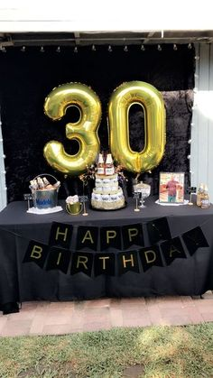 30th Birthday Party Ideas Men Black And Gold Beer Theme
