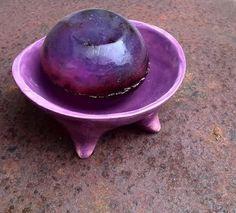 jabonera de ceramica lavanda