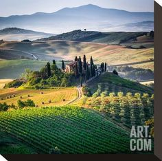 Tuscany Panorama Italy Stretched Canvas Print at Art.com