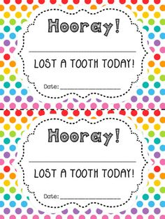 I Lost a Tooth! Certificates, Envelopes, and Necklaces included. Free!!!