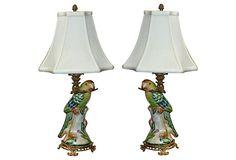 Porcelain Parrot Lamps, Pair on OneKingsLane.com