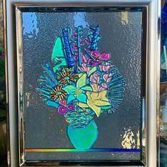 Winter Moon, Art Stand, Pink Moon, Ocean Sunset, Panel Art, Glass Wall Art, Light Turquoise, Dichroic Glass, Vintage Glassware