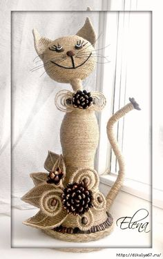 This Pin was discovered by KirCrochet Couverture Blanket Insjust I need some stones, a rop Wine Bottle Art, Wine Bottle Crafts, Diy Bottle, Crafts To Make, Arts And Crafts, Diy Crafts, Coffee Bean Art, Twine Crafts, Rope Art