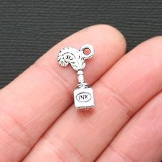 6 Violin Charms Antique Silver Tone with Lovely Details SC563