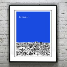 Lawrence Poster Art Skyline Print Oklahoma Jayhawks University of Kansas 8 X 10