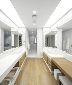 Large decorative mirrors for white bathroom and wood