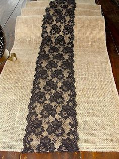 Items similar to Burlap table runner with black lace, rustic table runner, handmade in the USA on Etsy, Diy Abschnitt, Burlap Projects, Burlap Crafts, Sewing Projects, Black Lace Table, Rustic Table Runners, Lace Runner, Shabby, Burlap Lace, Hessian