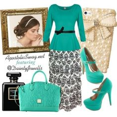 Ruffled damask print skirt, mint peplum top, mint platform Mary Jane heels, Dooney and Bourke handbag, curled updo hairstyle. Apostolic Feature: DaintyJewells.com