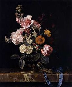 Vase of Flowers with Pocket Watch Willem Van Aelst