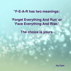 Two meanings of fear ~ Forget Everything And Run or Face Everything And Rise ....The choice is yours ~ Zig Zigler