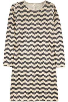 J.Crew|Zigzag-striped sequined dress|NET-A-PORTER.COM