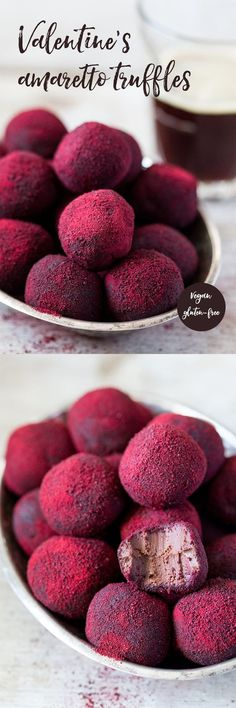 Valentine's amaretto truffles – Lazy Cat Kitchen Hot pink truffles Exchange the liqueur for to tsp almond extract for 2 tbsp liqueur. Vegan Sweets, Vegan Desserts, Just Desserts, Delicious Desserts, Yummy Food, Impressive Desserts, Beautiful Desserts, Candy Recipes, Sweet Recipes