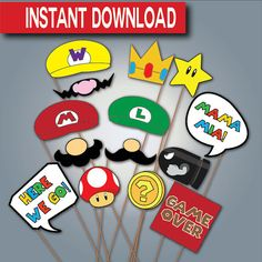 Super Mario Photo Booth Props-Instant download- Printable- Digital Files- Mario Photo Props