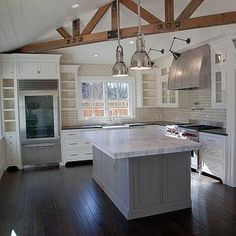 Kitchen with Beadboard Ceiling - Transitional - kitchen - Rejuventation
