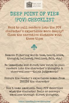 ONE STOP Deep POV Checklist. This is a good list to refer to when you are editing and revising your ms. Creative Writing Tips, Book Writing Tips, Editing Writing, Writing Words, Writing Quotes, Fiction Writing, Writing Resources, Writing Help, Writing Skills