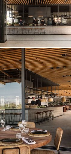 This hotel restaurant features an open-kitchen with black metal shelving that hangs from the ceiling. Restaurant A Look Inside The Recently Opened Casa Cook Hotel On The Island Of Kos In Greece Open Kitchen Restaurant, Restaurant Kitchen, Hotel Kitchen, Restaurant Shelving, House Restaurant, Hotel Lounge, Spa Hotel, Bar Interior, Restaurant Interior Design