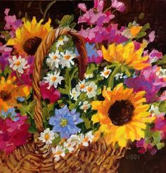"""Daily Paintworks - """"Party Basket"""" - Original Fine Art for Sale - © Libby Anderson"""