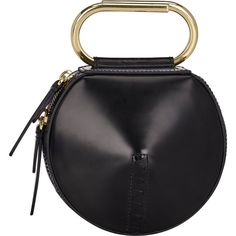 3.1 Phillip Lim Alix Mini Circle Clutch (€220) ❤ liked on Polyvore featuring bags, handbags, clutches, black, black clutches, circle purse, leather handbags, black leather handbags and black purse