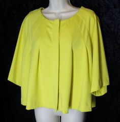 ATTENTION size XL Yellow Cropped Jacket Jersey Knit Cape NEW NWT