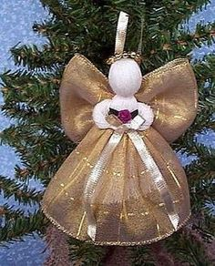 4 Assorted Ribbon Angels for Christmas Tree Handmade Decorations Ornaments | eBay