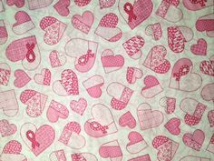 Breast Cancer Awareness hearts & pink ribbon print fabric swatch for custom made-to-order scrub