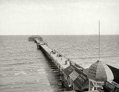 "Circa 1904. ""Old Orchard, Maine. Ocean Pier."" After a long walk on this long pier: Drink Moxie!"