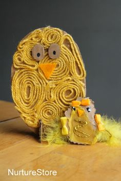 Spring Craft Activity: Work with your preschooler in creating his or her own spring chicken using cardboard and string. Children will practice using their fine motor skills as they place the string on the chicken in a variety of designs.