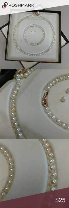 Pearl set I was given these as a gift a long time ago. Told they are real pearls. I don't guarantee that but I believe they are. I'm selling cheap because I'm not guaranteeing. Jewelry