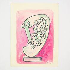 "SOREL ETROG ""LINK HEAD STUDY - PINK"" WC, 1967"