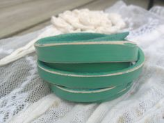 Woman's Leather Cuff Bracelet in Mint Green - My Favorite Painted Vintage Chair -  www.hangondesigns.etsy.com