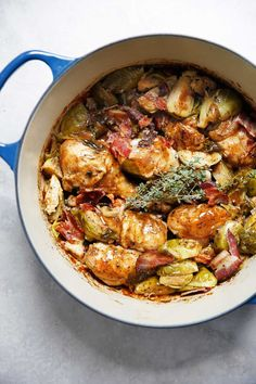 Skip To Recipe ThisOne-Pot Apple Cider Braised Chicken with Brussels Sprouts and Bacon is the perfect meal.