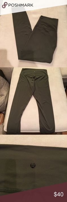 Forrest green Lululemon crop leggings I'm not sure the exact style of these legging s although I'm almost certain that they're winder under crops. They are very beautiful and have so much life left although they do have a bit of pilling on the inner thigh which is pictured in the last picture. I ❤️ offers! lululemon athletica Pants Leggings
