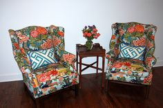 {Wing-back chairs from estate sale refurbished and reupholstered}  |   Suburban Chicago Renovation | Designer: Karen Austin, Potpourri Interiors, Mission Hills KS | Fabric: Schumacher Chiang Mai Dragon