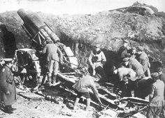 A 210-mm German mortar at Verdun.  This heavy howitzer was Germany's chief weapon during the battle, constantly shelling French trenches. 1916.