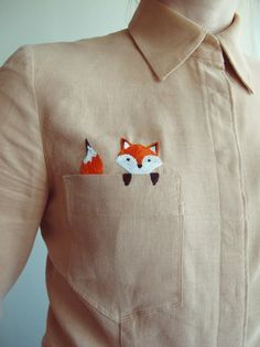 Now this is the CUTEST! Button down with a pocket fox embroidery.