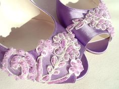 Items similar to Lilac Lace Embellished Bridal Shoes with Low Heels on Etsy Satin Wedding Shoes, Bridal Shoes, Colorful Wedding Shoes, Bridesmaid Shoes, Teal, Purple, Wedding Outfits, Low Heels, Lilac
