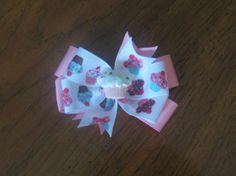 White and Pink 3 Inch Cupcake Pinwheel Style Hairbow by EmzBowz, $4.50