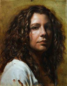 """""""Gaetanne"""" - Zack Zdrale, oil on canvas, 2007 {contemporary figurative artist female head brunette woman face portrait painting} zackzdrale.com"""