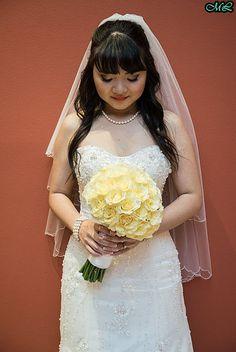 Photographer: Juanito Aguil of FreshStartCollective Make up: Maritess Lopez-Siochi (makeupbytess) Hair: Michelle Lopez (hairbymichlopez)  #longhair #wedding #asianwedding #wavyhair #bride #weddingdress #bangs