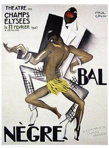 """Art Deco Poster Josephine Baker African-American jazz """"Bal Negre"""""""