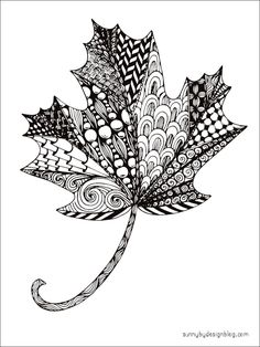 free printable zentangle maple leaf coloring page by sunny duran autumn leaves adult coloring - Zentangle Coloring Pages For Adults